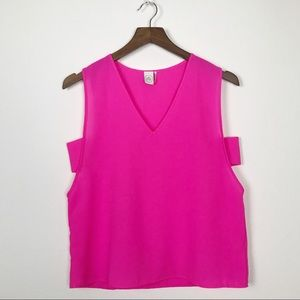 PAPER CRANE Hot Pink Tank Top Side Cut Out
